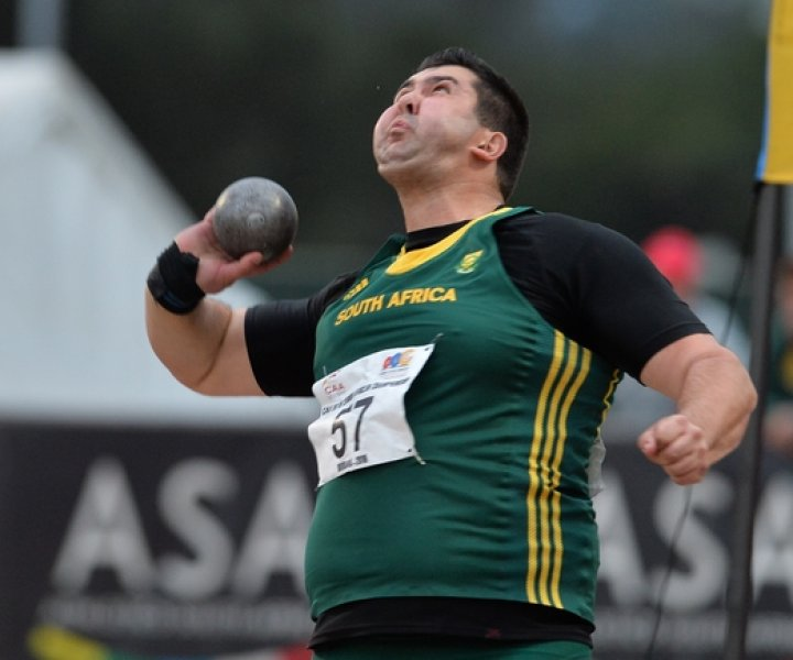 DURBAN, SOUTH AFRICA - JUNE 22: Jaco Engelbrecht of South Africa won the mens shot put during the afternoon session on day 1 of the CAA 20th African Senior Championships at Kings Park Athletic stadium on June 22, 2016 in Durban, South Africa. (Photo by Roger Sedres/Gallo Images)