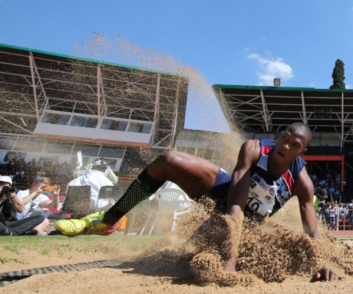 POTCHEFSTROOM, SOUTH AFRICA - APRIL 22: Luvo Manyonga in the mens long jump during day 2 of the ASA Senior Championships at PUK McArthur Stadium on April 22, 2017 in Potchefstroom, South Africa. (Photo by Roger Sedres/ImageSA)