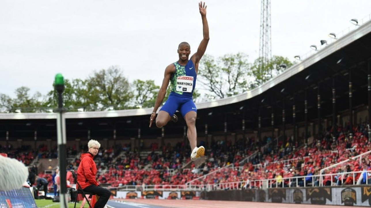 South Africa's Luvo Manyonya competes in the men's long jump during the IAAF Diamond League competition on May 30, 2019 in Stockholm, Sweden. (Photo by Jonathan NACKSTRAND / AFP)